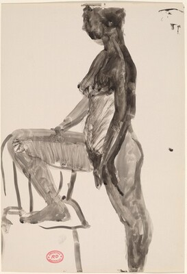 Untitled [standing female nude with right foot in chair: side view]