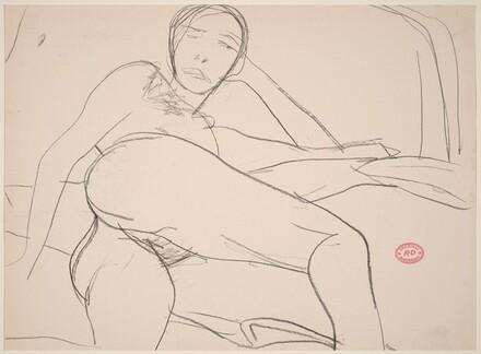 Untitled [reclining female nude turning toward viewer]