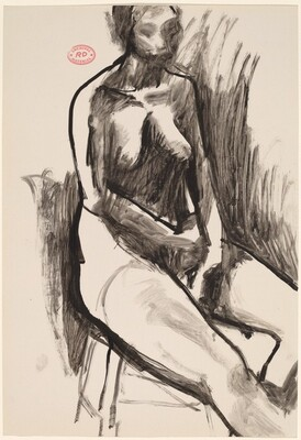 Untitled [seated female nude with arms in lap]