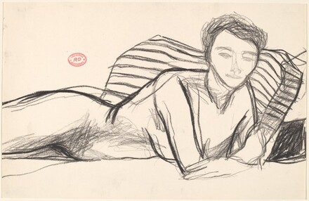 Untitled [model lying with her belly on the bed and looking up]