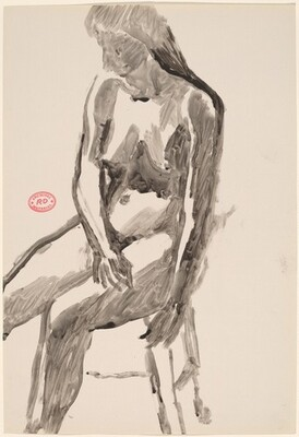 Untitled [side view of a female nude seated on a stool]