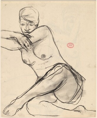 Untitled [seated female nude leaning left on her crossed arms] [recto]