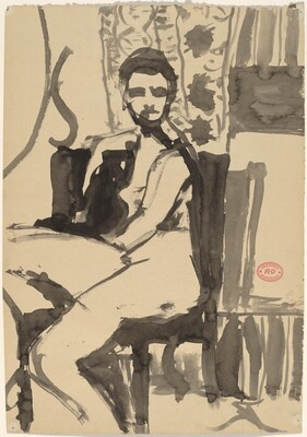 Untitled [seated female nude posing in an interior]