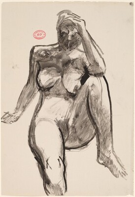 Untitled [front view of seated female nude with left hand on head]