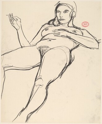 Untitled [reclining nude with a cigarette in her hand]