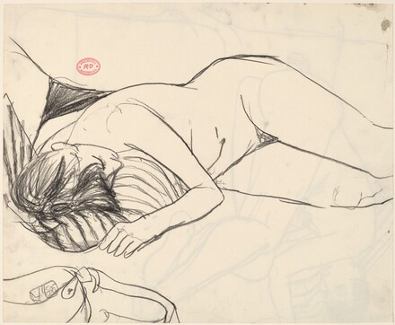 Untitled [female nude resting on a striped pillow] [recto]