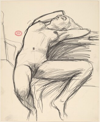 Untitled [seated nude stretching back with her head and arms]