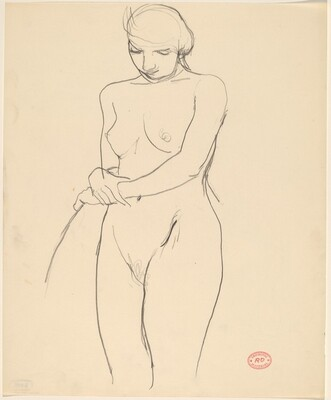 Untitled [standing female nude with hand on chair back]