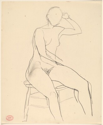 Untitled [seated female nude with left arm raised]