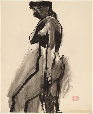 Untitled [female nude, side view]