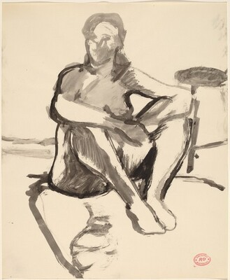 Untitled [female nude seated on floor]