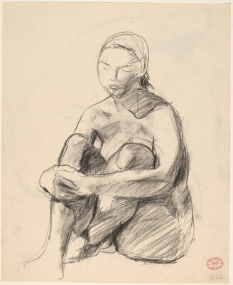 Untitled [female nude seated on floor] [recto]