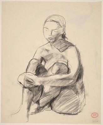 Untitled [female nude seated on floor] [recto]