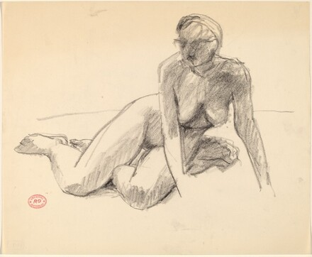 Untitled [seated female nude leaning on hands]