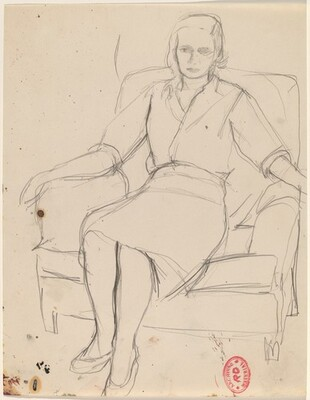 Untitled [woman resting in an armchair]