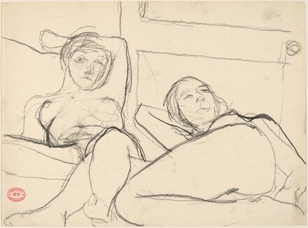 Untitled [two female nudes reclining before a door]
