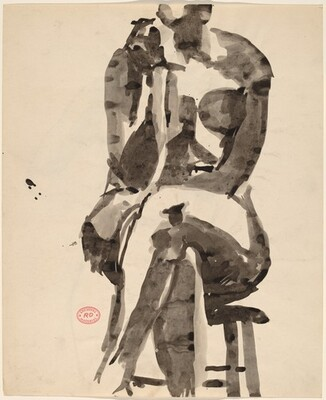 Untitled [front view of a female nude seated on a stool] [recto]
