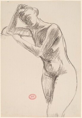 Untitled [standing nude leaning on her supported elbow]