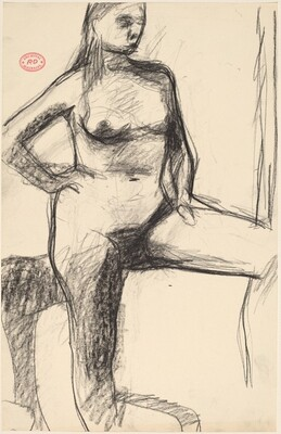 Untitled [standing female nude with raised left leg]
