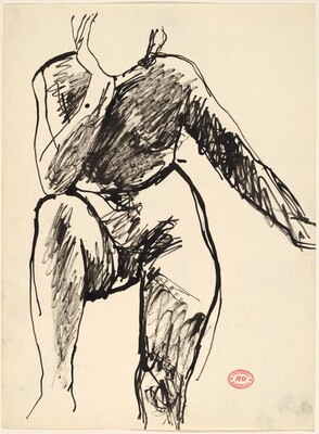 Untitled [female nude resting elbow on knee]