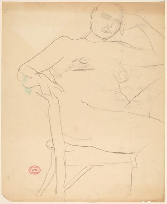 Untitled [seated nude leaning her head on her left hand]