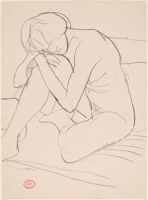 Untitled [seated nude leaning forward on her knee]