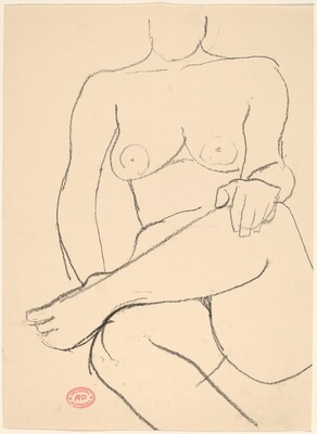 Untitled [seated nude crossing her leg]