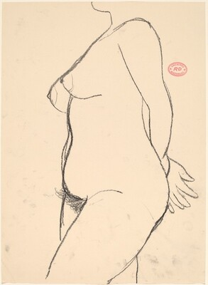 Untitled [side view of nude with her hands behind her back]