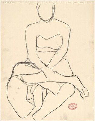 Untitled [model in skirt seated with her legs crossed]