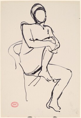 Untitled [seated female nude holding right leg]