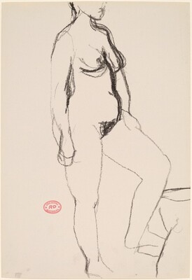 Untitled [female nude stepping up]