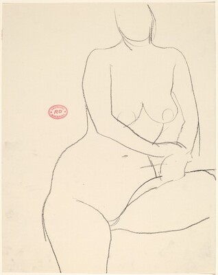 Untitled [front view of a standing nude with her left leg elvated]