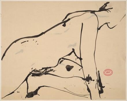 Untitled [female nude crouching]