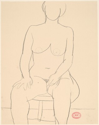 Untitled [front view of seated female nude]