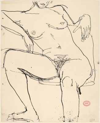 Untitled [seated female nude with arm over chair back]