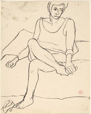 Untitled [seated woman holding her foot]