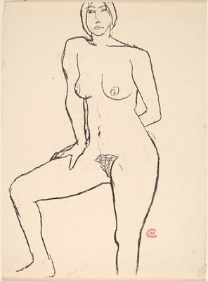 Untitled [standing nude with her left arm behind her back]