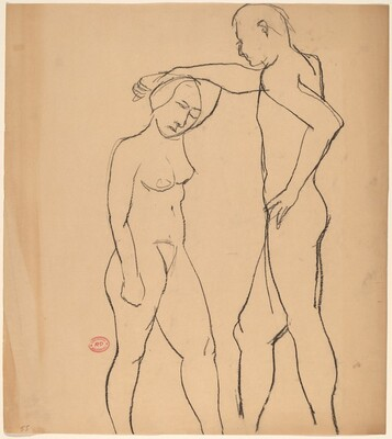 Untitled [male nude holding the arm of a female nude]