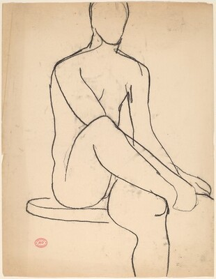Untitled [seated nude with her hands on her right foot]