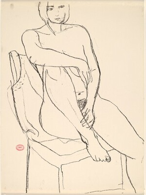 Untitled [seated nude with her right foot on the chair seat]