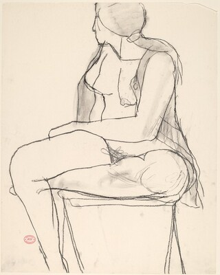 Untitled [seated female nude in an open shirt turning away]