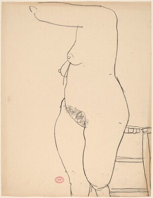 Untitled [female nude standing beside a stool]