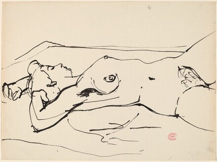 Untitled [reclining nude with her arms above her head]