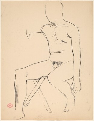Untitled [seated male nude]