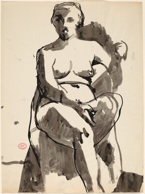 Untitled [seated nude with her left arm over the chair back]