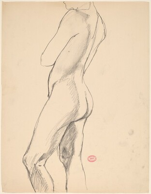 Untitled [side view of a standing nude]