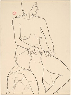 Untitled [seated nude resting her hands on her legs]