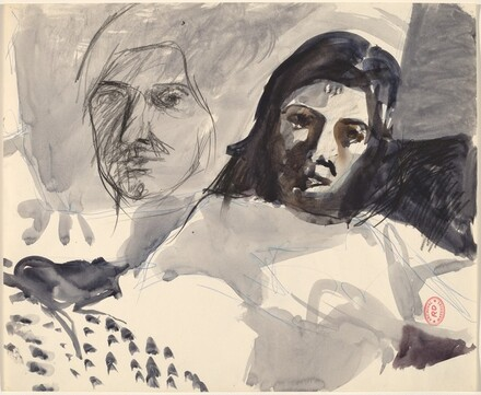 Untitled [studies of two heads]