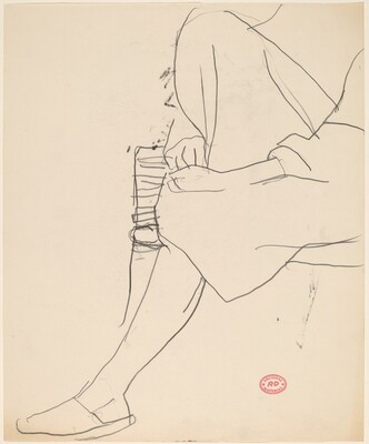 Untitled [seated woman with arms holding right leg]
