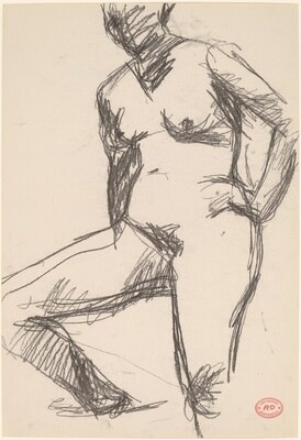 Untitled [standing female nude with right leg on platform]
